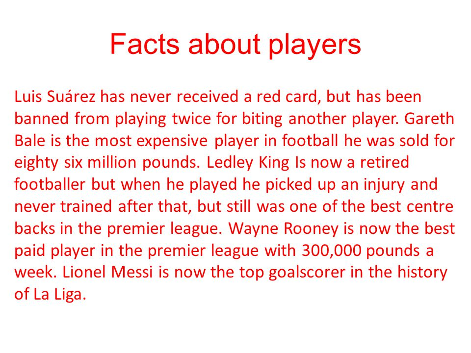 Facts about players