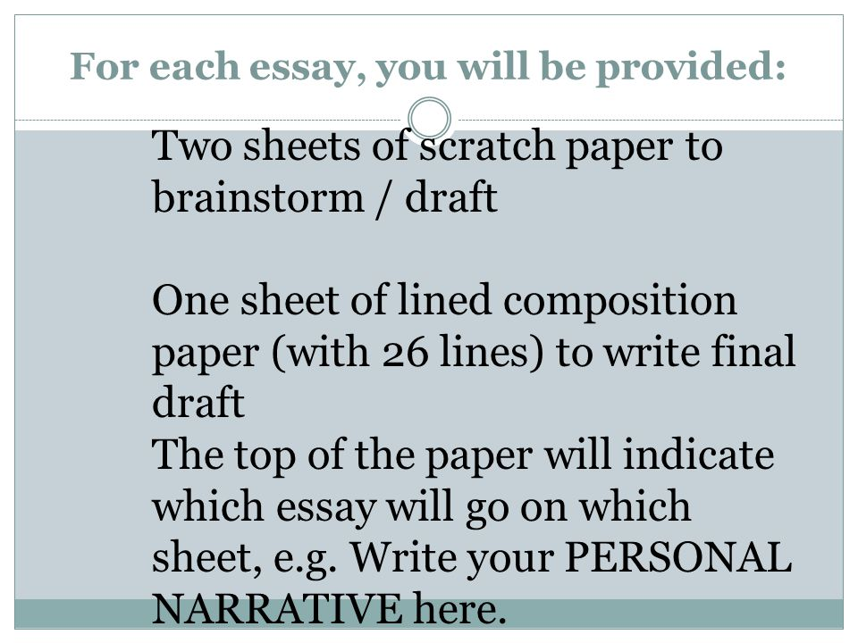 For each essay, you will be provided: