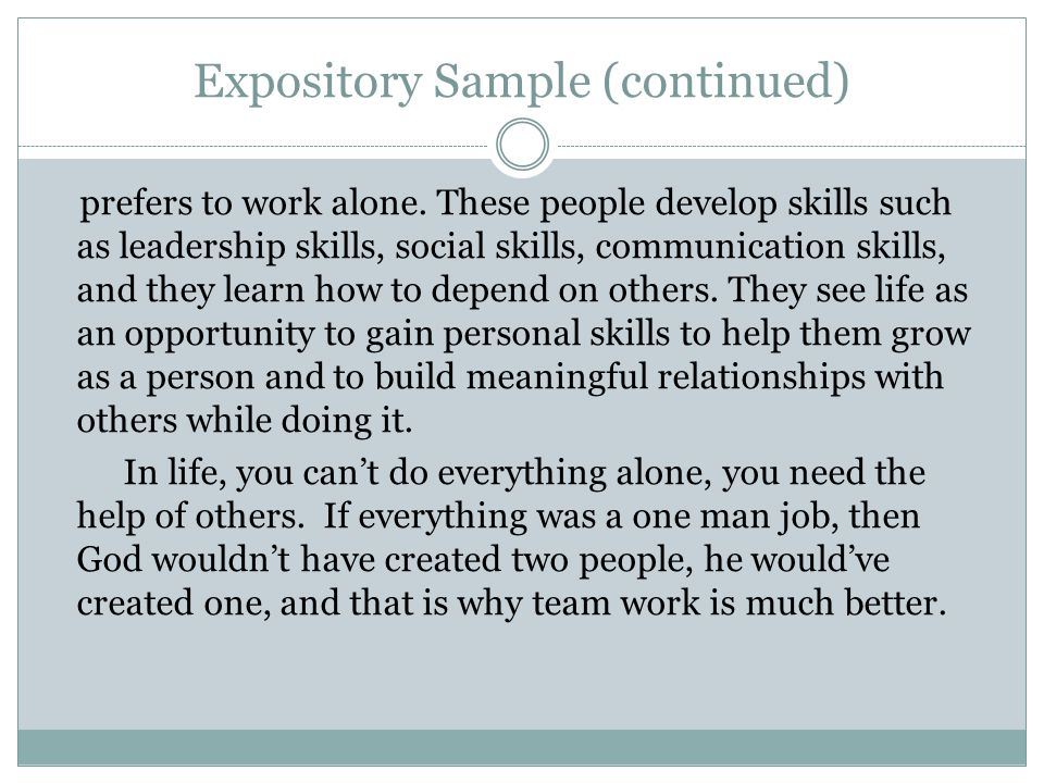 Expository Sample (continued)