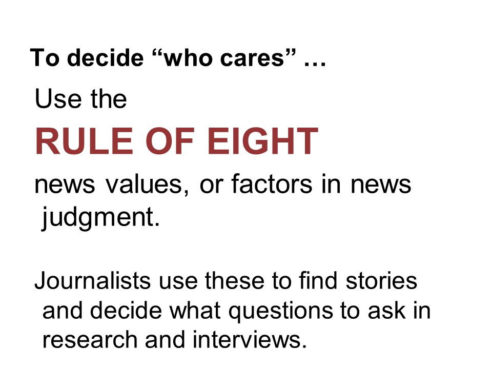 Rule of Eight News Values