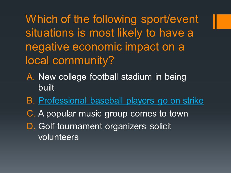 Which of the following sport/event situations is most likely to have a negative economic impact on a local community