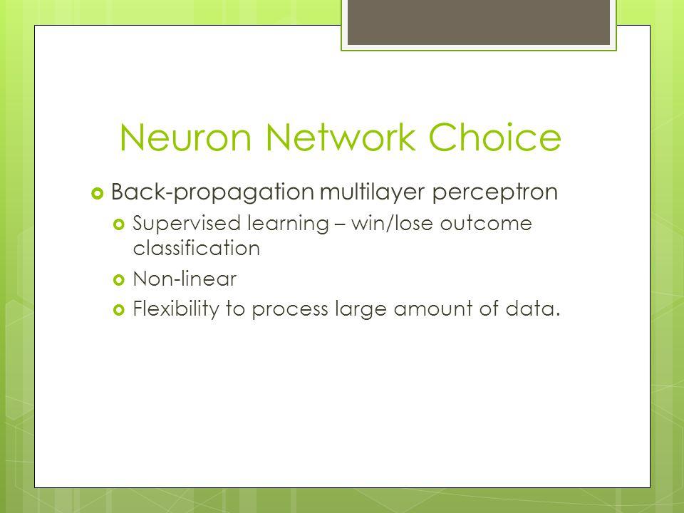 Neuron Network Choice Back-propagation multilayer perceptron