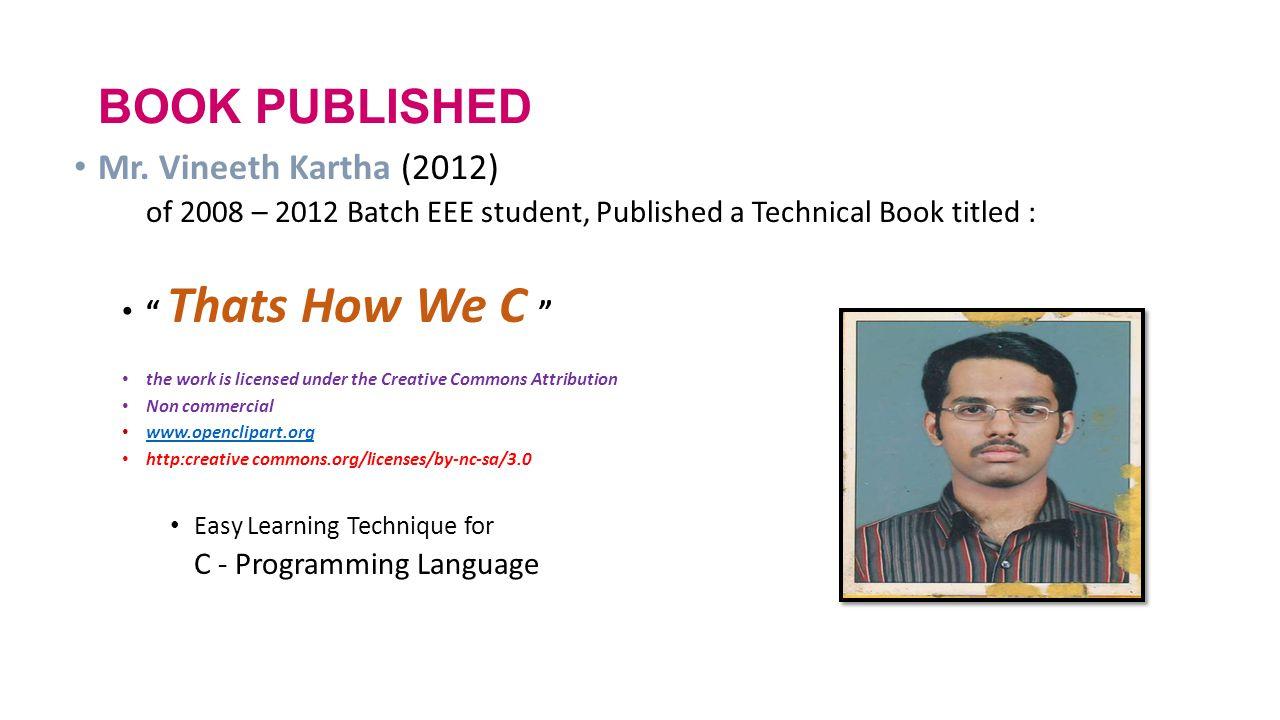 BOOK PUBLISHED Mr. Vineeth Kartha (2012)