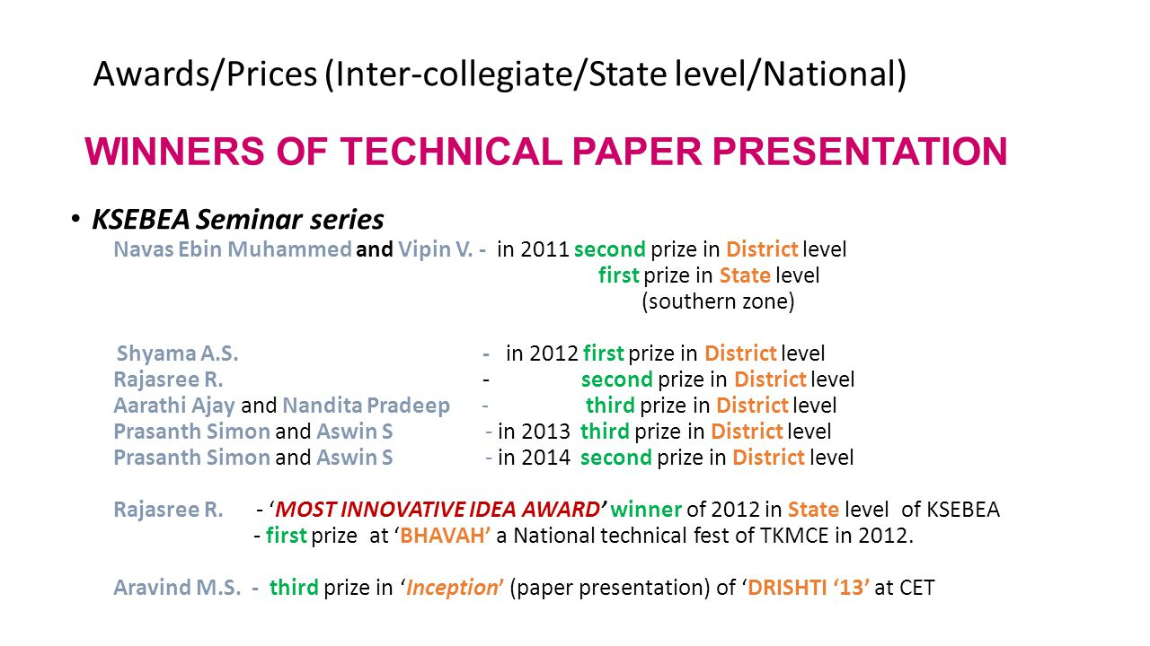 WINNERS OF TECHNICAL PAPER PRESENTATION