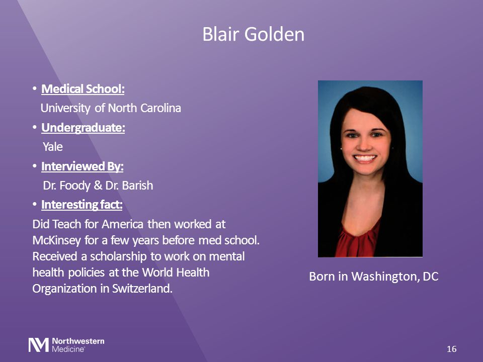 Blair Golden Medical School: University of North Carolina