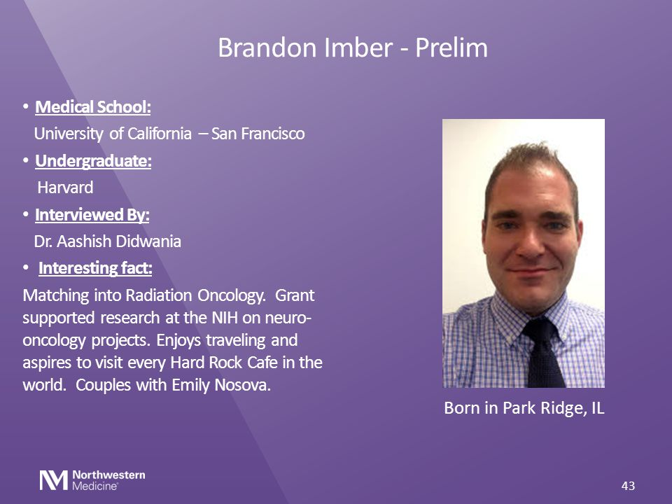 Brandon Imber - Prelim Medical School: