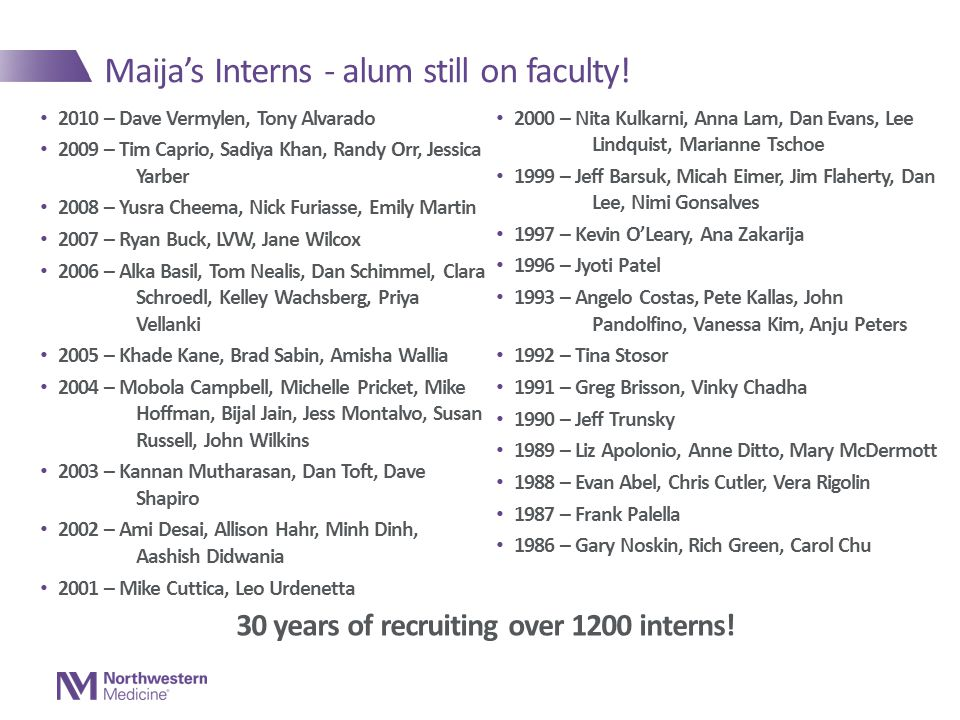 Maija's Interns - alum still on faculty!