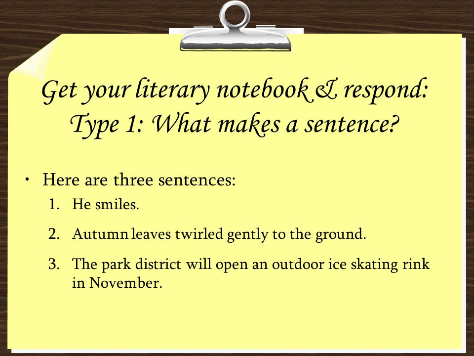 Get your literary notebook & respond: Type 1: What makes a sentence