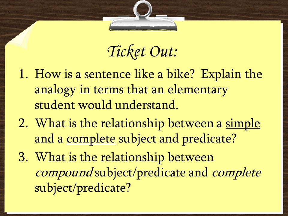 Ticket Out: How is a sentence like a bike Explain the analogy in terms that an elementary student would understand.