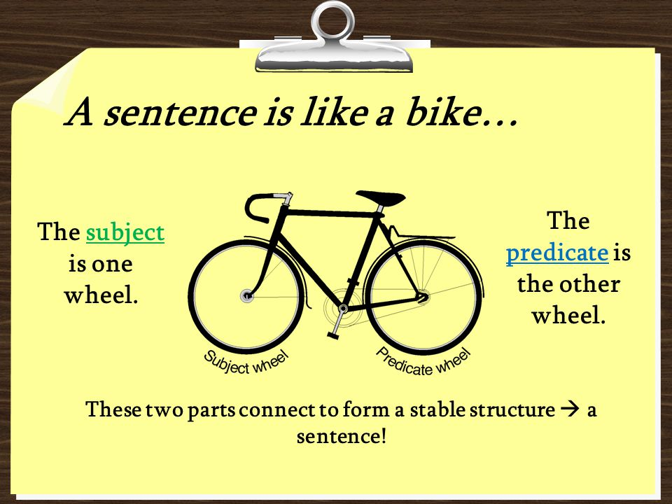 The predicate is the other wheel. The subject is one wheel.