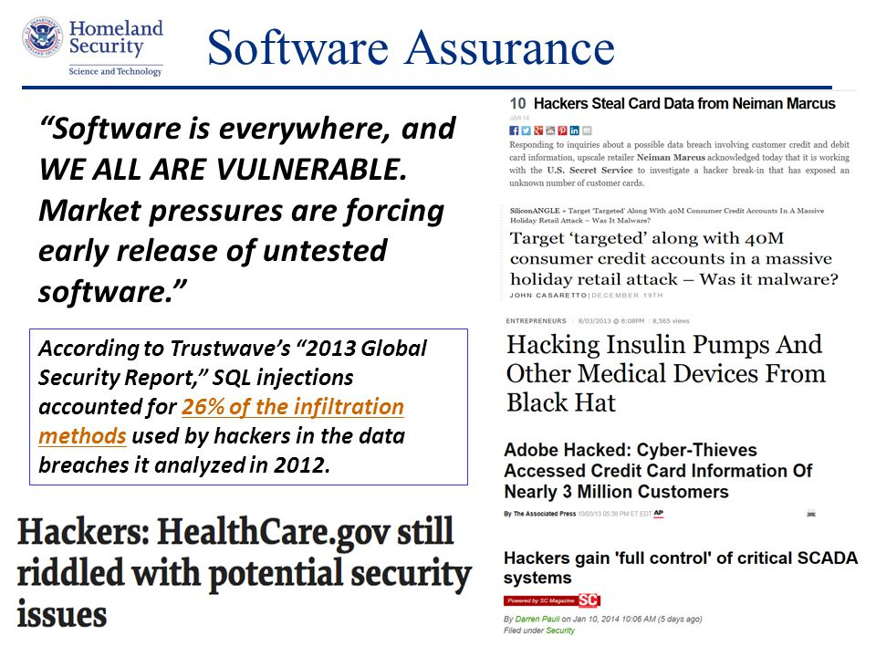 Software Assurance Software is everywhere, and WE ALL ARE VULNERABLE. Market pressures are forcing early release of untested software.