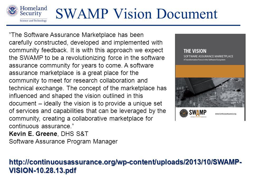 SWAMP Vision Document