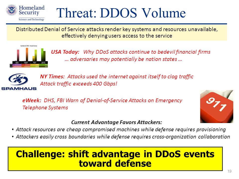 Threat: DDOS Volume Distributed Denial of Service attacks render key systems and resources unavailable,