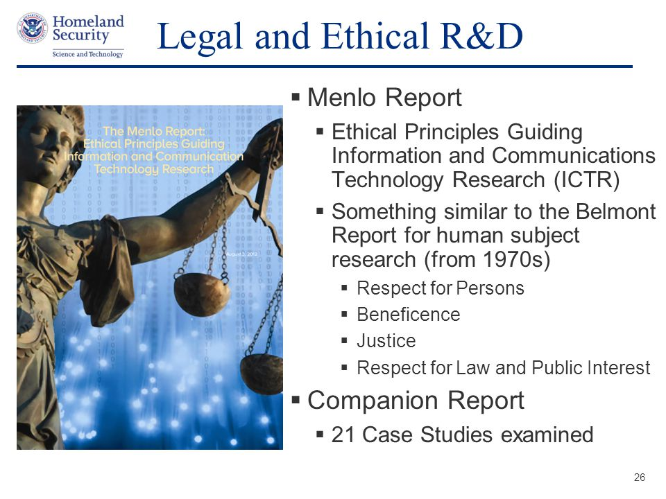 Legal and Ethical R&D Menlo Report Companion Report