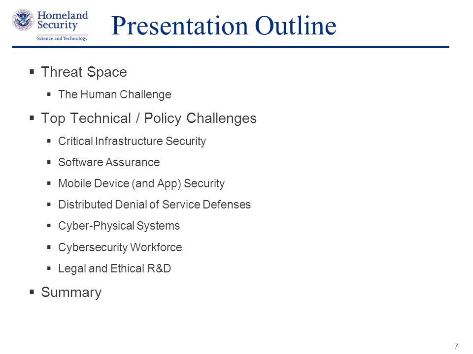 Presentation Outline Threat Space Top Technical / Policy Challenges