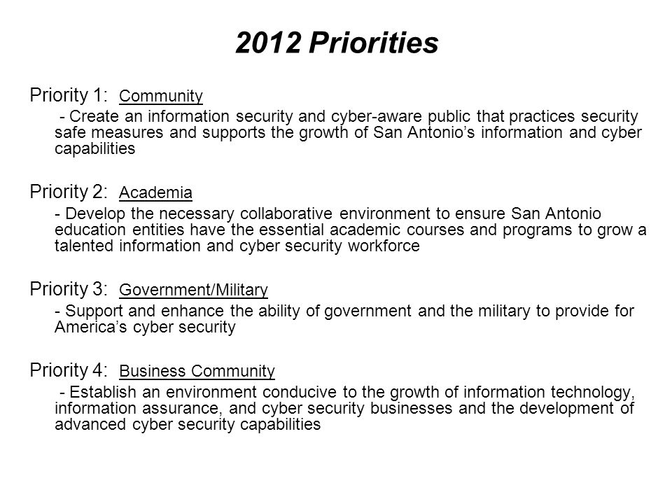 2012 Priorities Priority 1: Community Priority 2: Academia