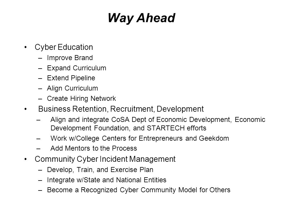 Way Ahead Cyber Education Business Retention, Recruitment, Development
