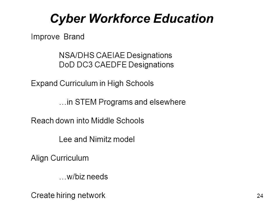 Cyber Workforce Education