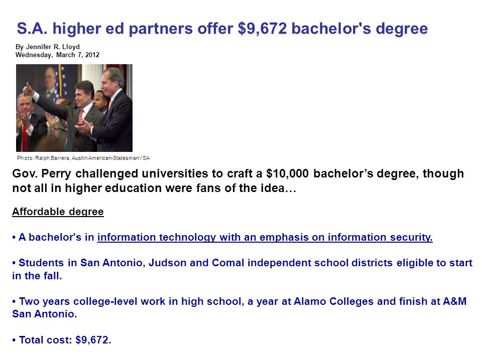 S.A. higher ed partners offer $9,672 bachelor s degree