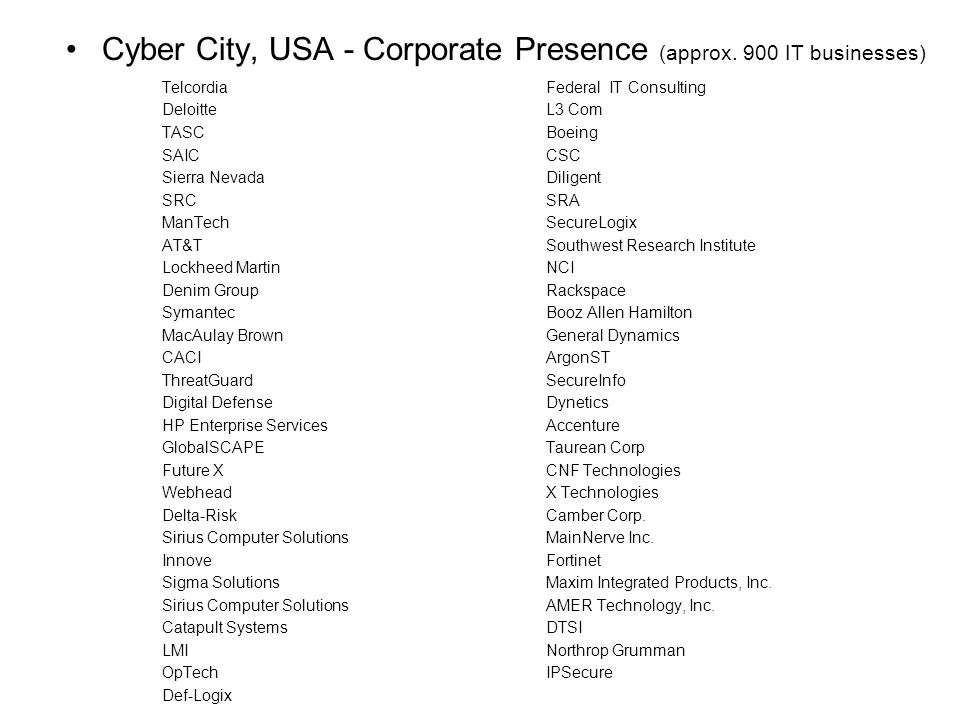 Cyber City, USA - Corporate Presence (approx. 900 IT businesses)