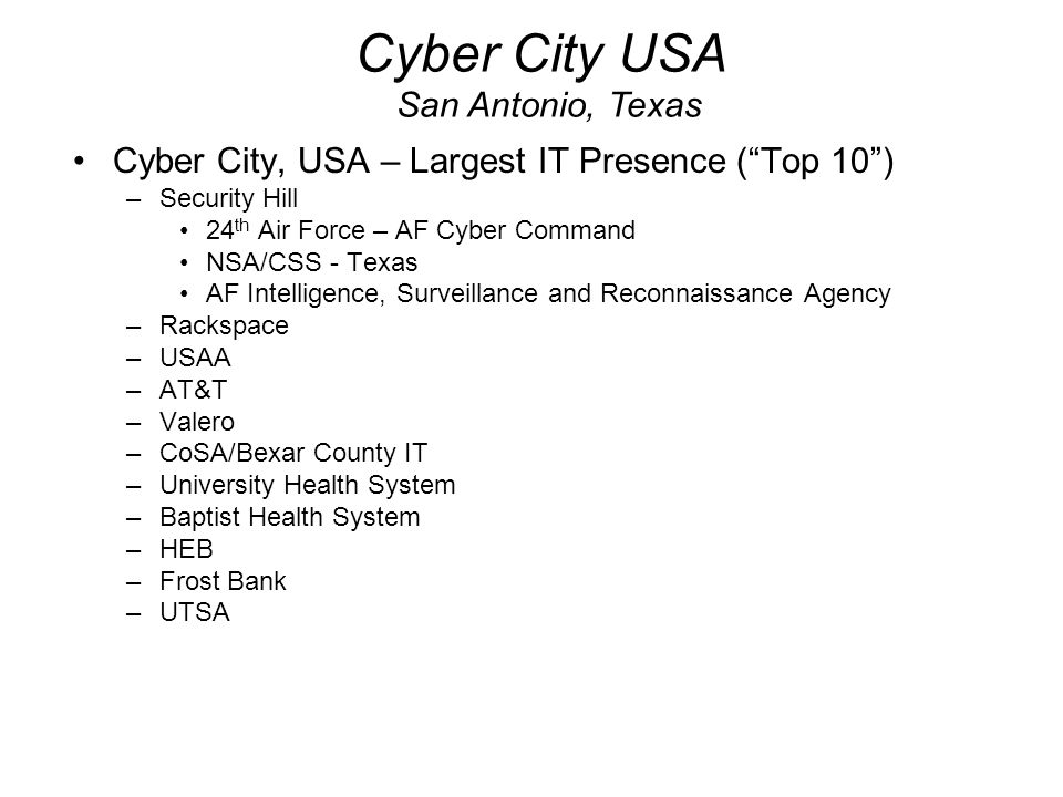 Cyber City USA San Antonio, Texas
