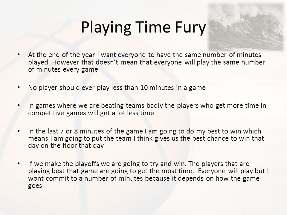Playing Time Fury