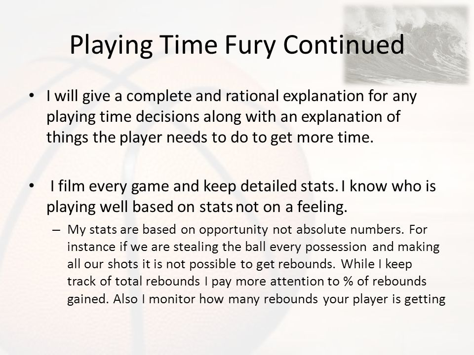 Playing Time Fury Continued