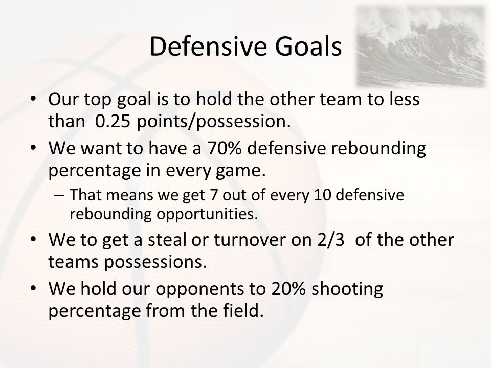 Defensive Goals Our top goal is to hold the other team to less than 0.25 points/possession.