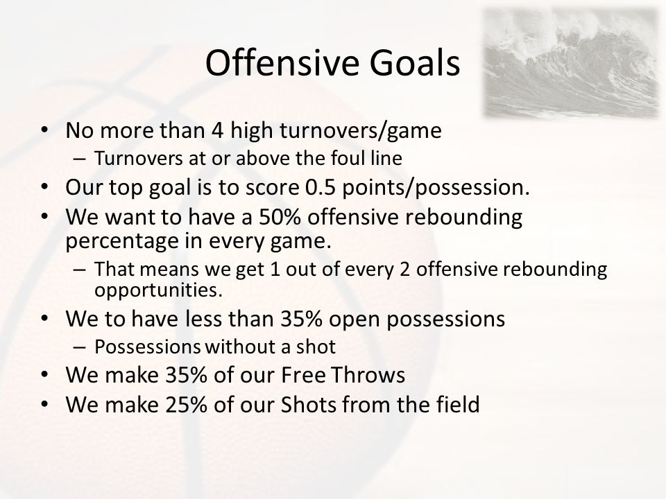 Offensive Goals No more than 4 high turnovers/game