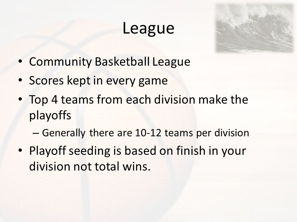 League Community Basketball League Scores kept in every game