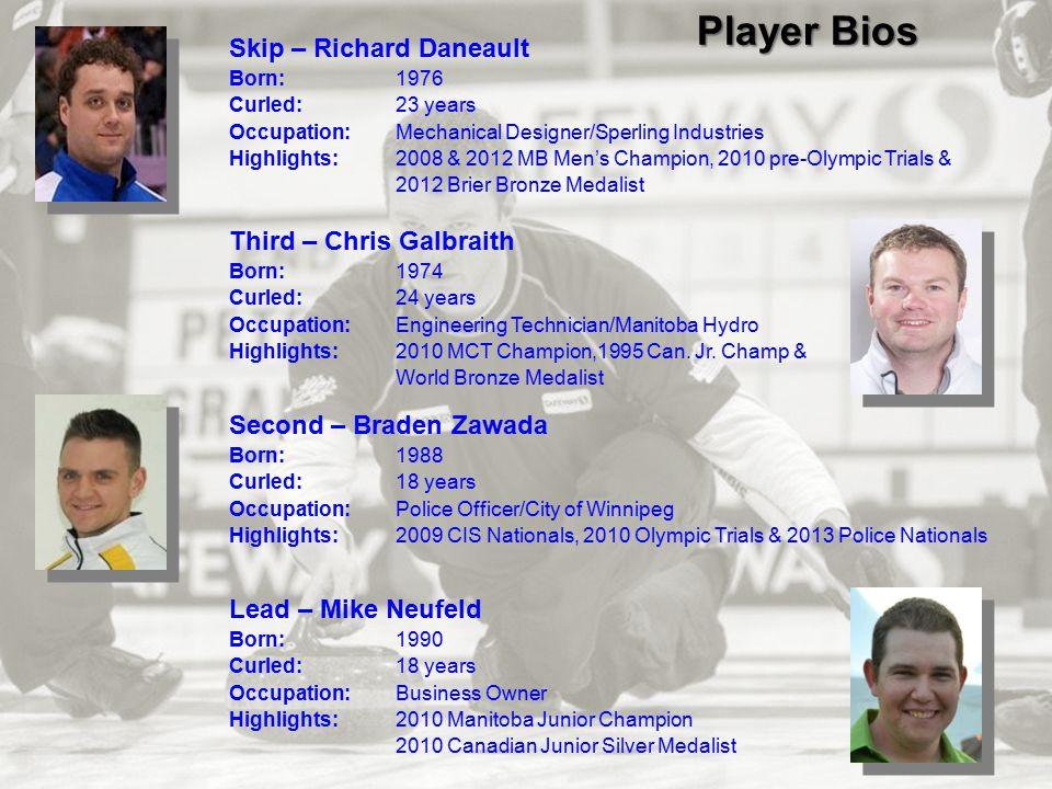 Player Bios Skip – Richard Daneault Third – Chris Galbraith