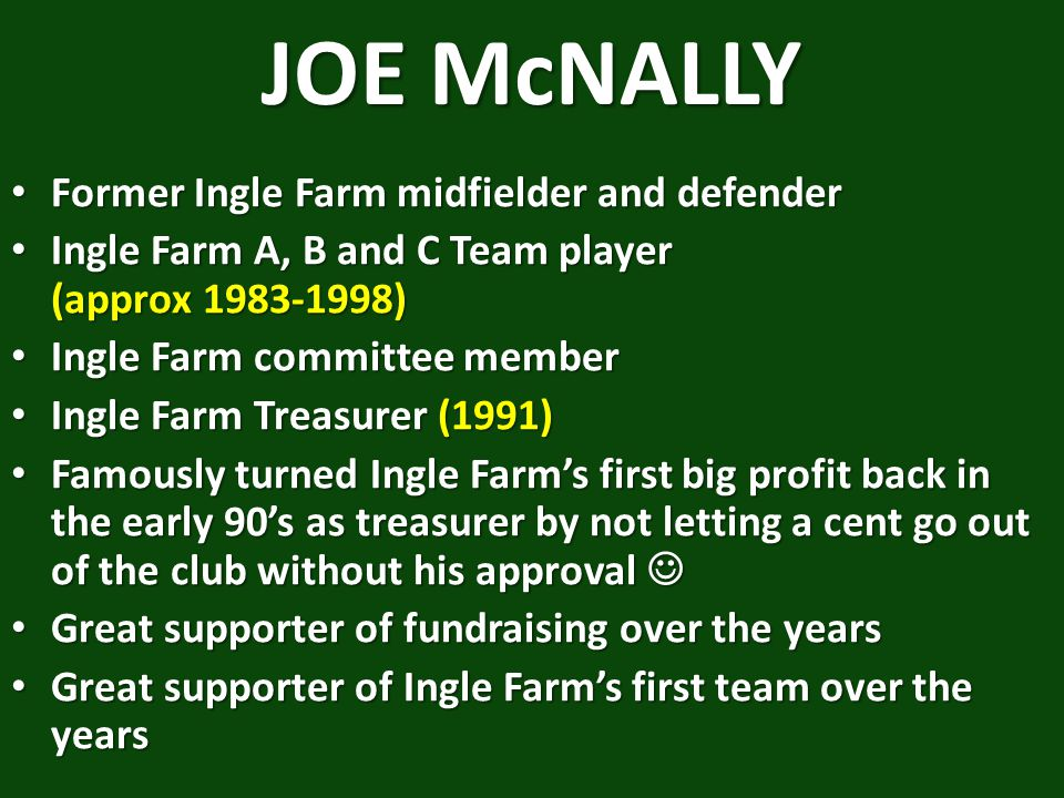 JOE McNALLY Former Ingle Farm midfielder and defender