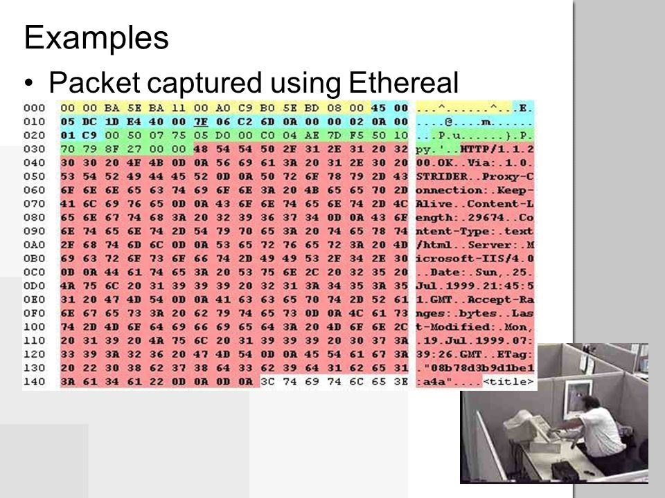 Examples Packet captured using Ethereal