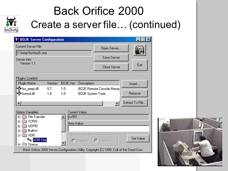 Back Orifice 2000 Create a server file… (continued)
