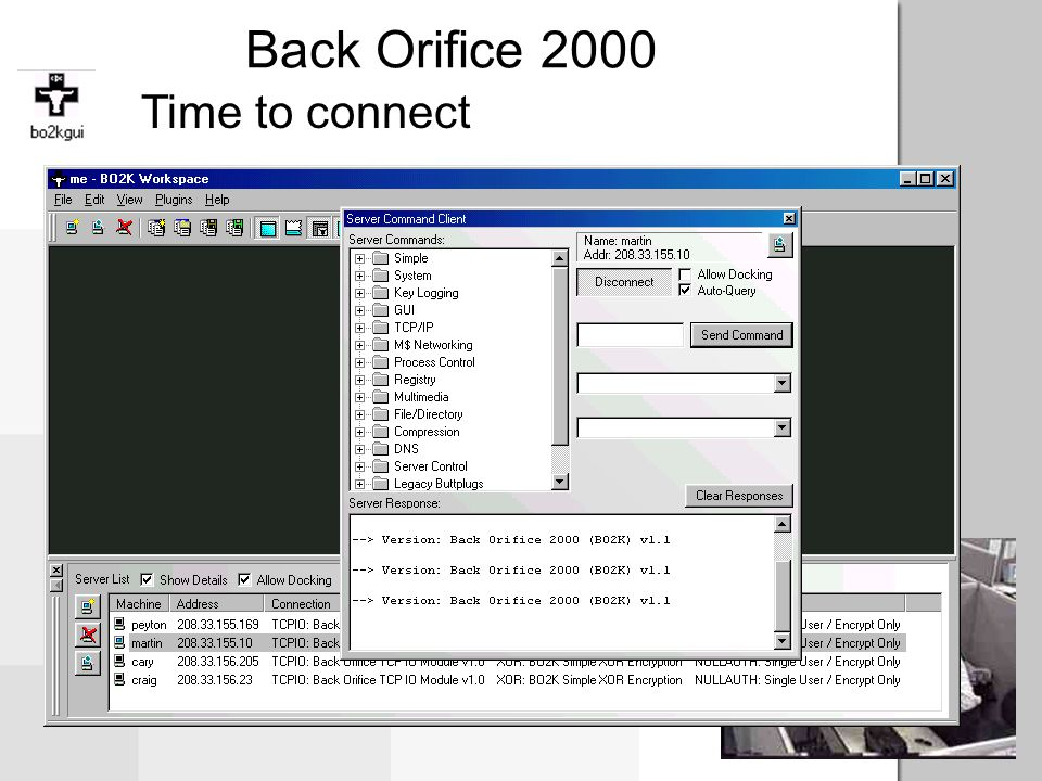 Back Orifice 2000 Time to connect