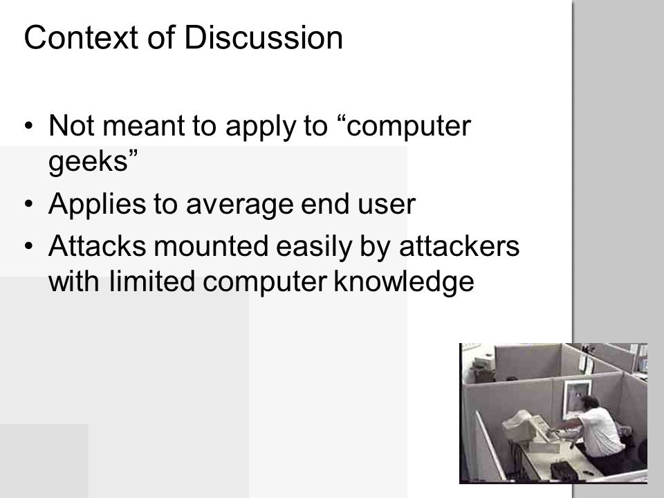 Context of Discussion Not meant to apply to computer geeks