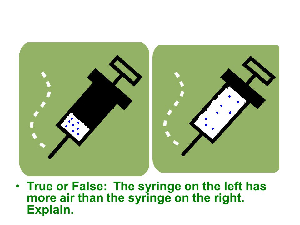 True or False: The syringe on the left has more air than the syringe on the right. Explain.