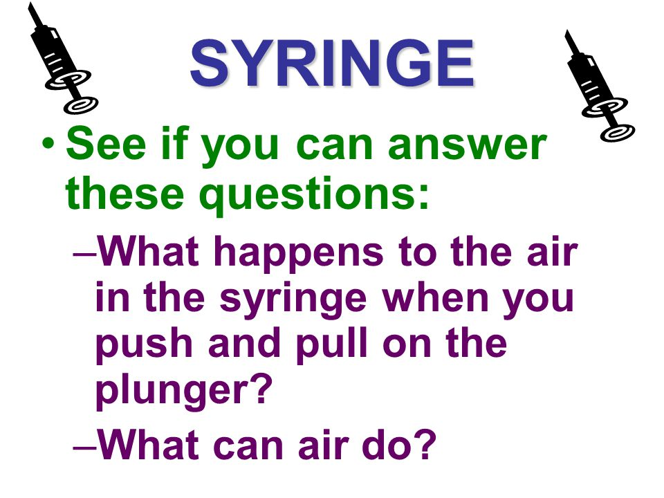 SYRINGE See if you can answer these questions: