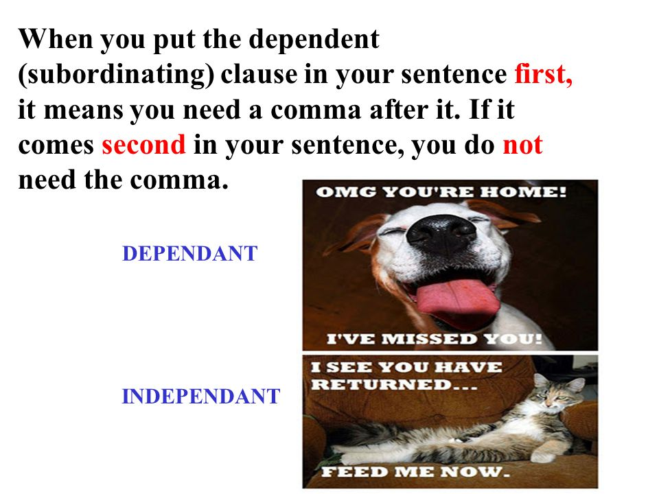 When you put the dependent (subordinating) clause in your sentence first, it means you need a comma after it. If it comes second in your sentence, you do not need the comma.