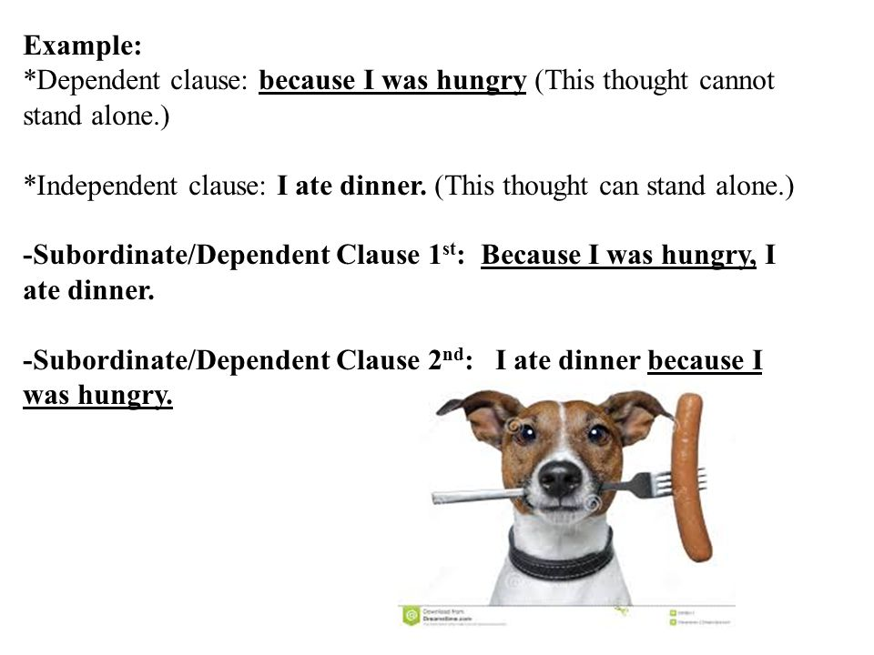 Example: *Dependent clause: because I was hungry (This thought cannot stand alone.)