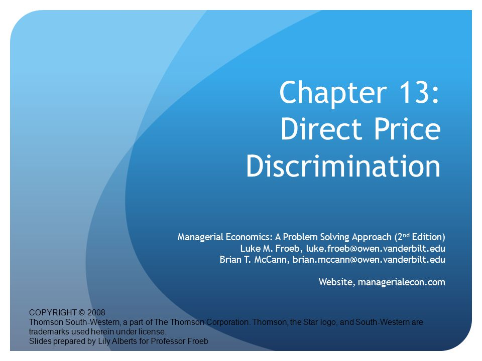 Chapter 13: Direct Price Discrimination