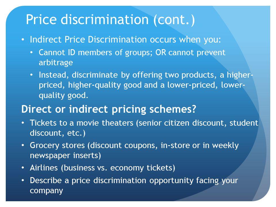 Price discrimination (cont.)