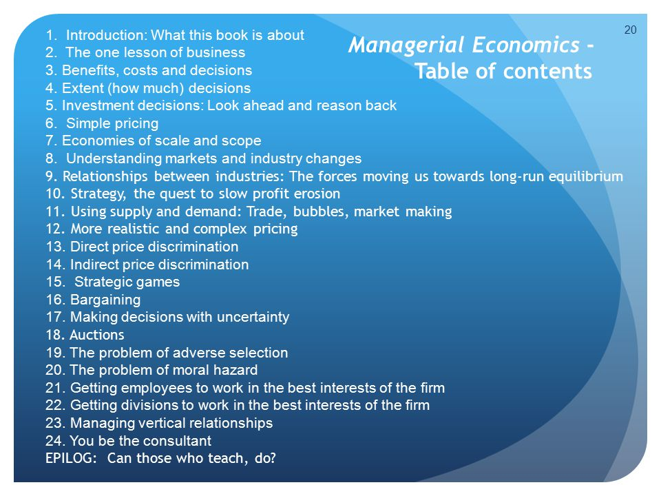 Managerial Economics - Table of contents