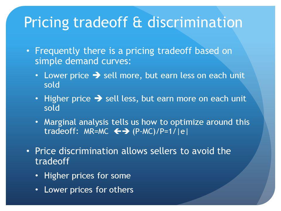 Pricing tradeoff & discrimination