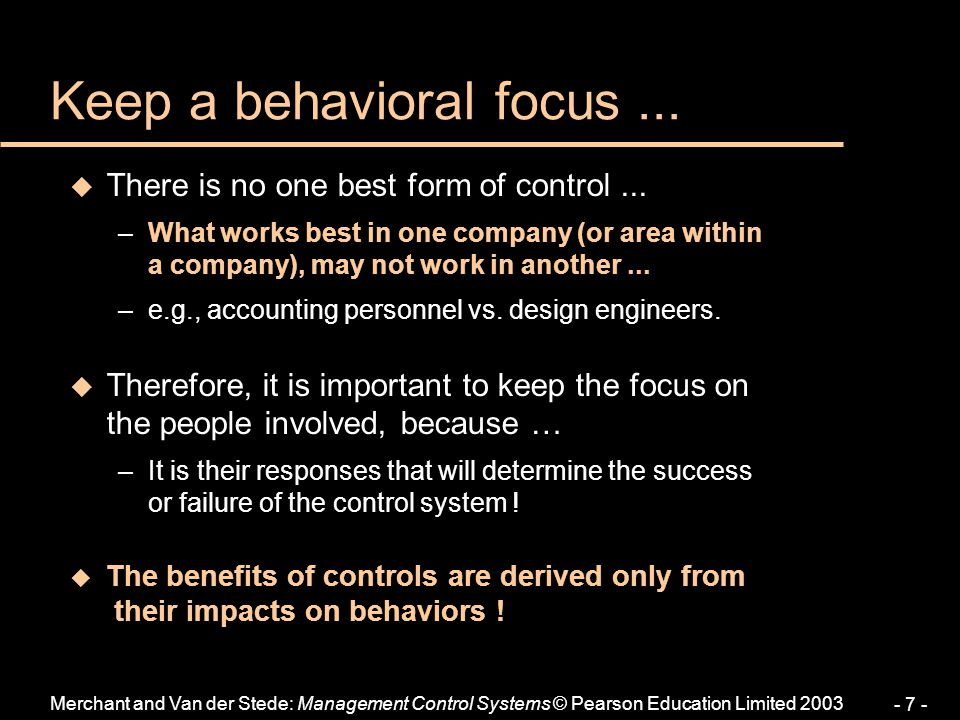 Keep a behavioral focus ...