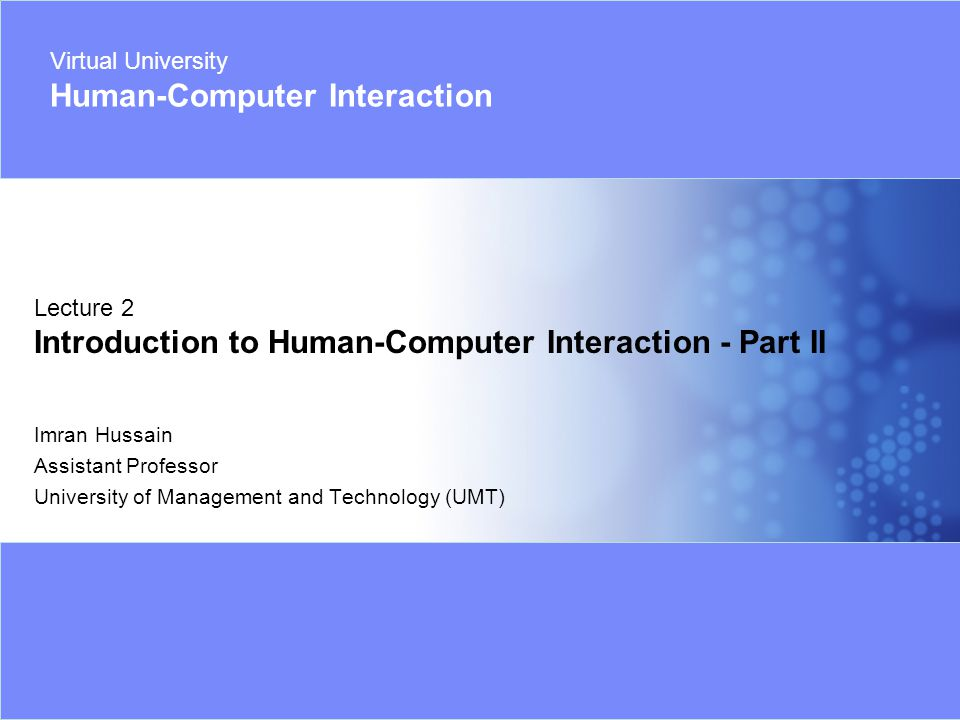 Virtual University Human-Computer Interaction