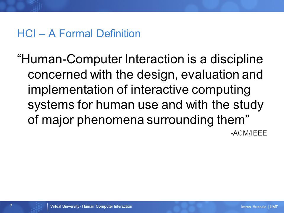 HCI – A Formal Definition