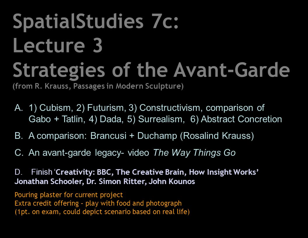Lecture 3 Strategies of the Avant-Garde