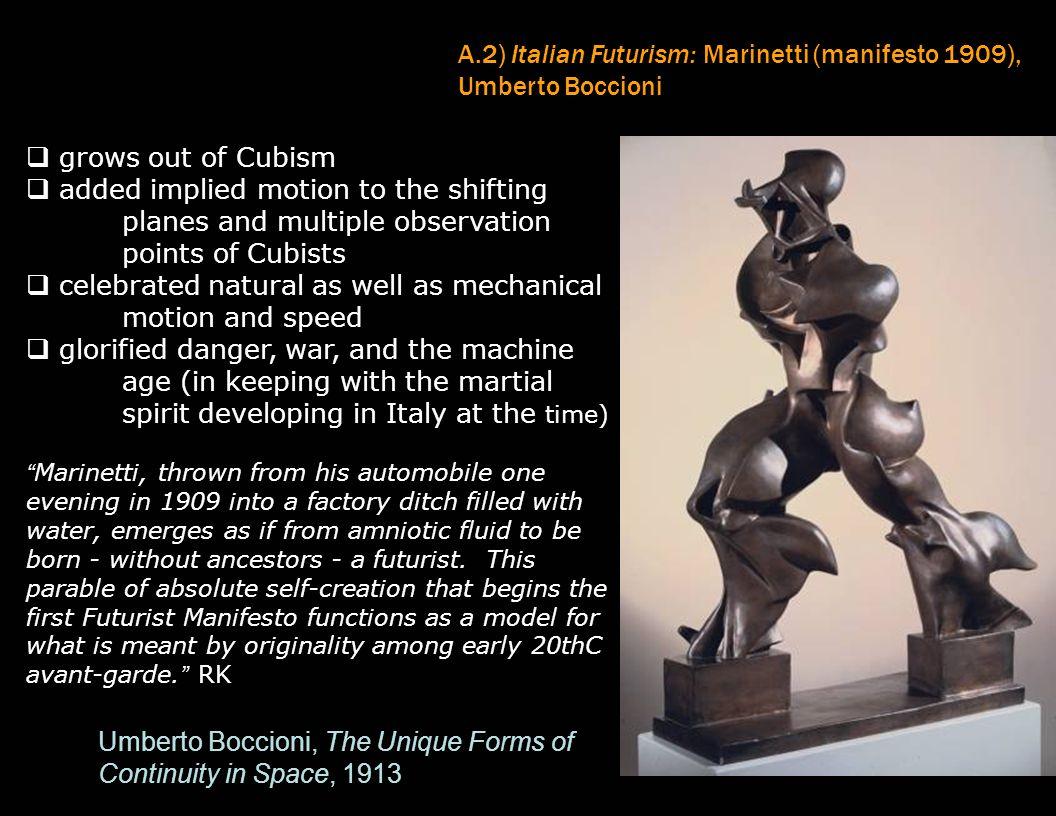A.2) Italian Futurism: Marinetti (manifesto 1909), Umberto Boccioni