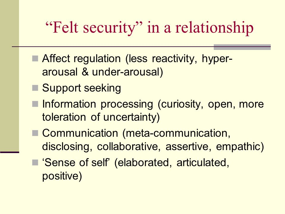 Felt security in a relationship